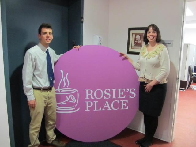 James Bianconi with Katie Amoro, Development Officer at Rosie's Place