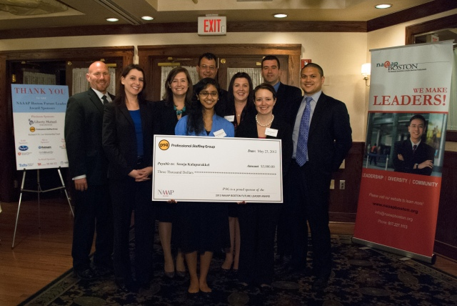 Pictured in photo: Sreeja Kalapurakkel, PSG Future Leader Award recipient, with PSG staff members Brian Sohns, Whitney Geden, Elizabeth Walker, Frank Gentile, Lauren O'Brien, Jessica Salerno Incerto, Sean Pulera and Marcel Escaler